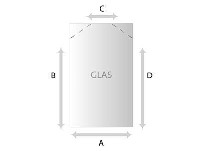 Schuine hoek Glas helder