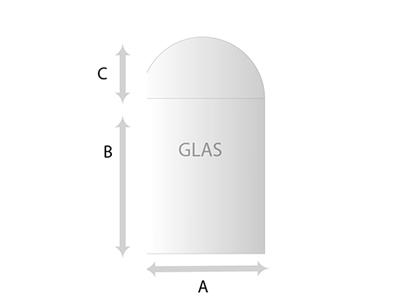 Getoogde bovenzijde Glas helder